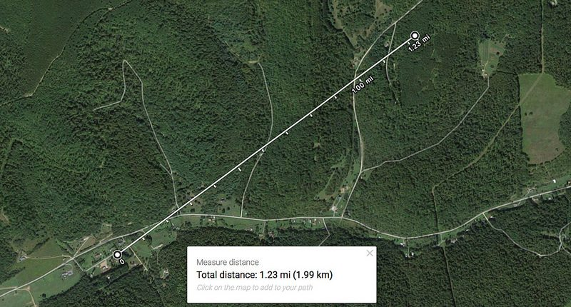 The approximate distance of Harry Sickler's home to the Reese Hollow well pad is 1.23 miles, while the plume of contamination has been recorded as far as 2.8 miles. © Public Herald