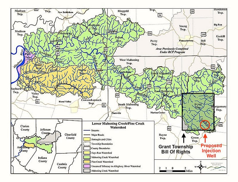 This watershed map created by Western Pennsylvania Conservancy includes Little Mahoning Creek. Grant Township (approx.) identified in grey and proposed injection well site in red by Public Herald.